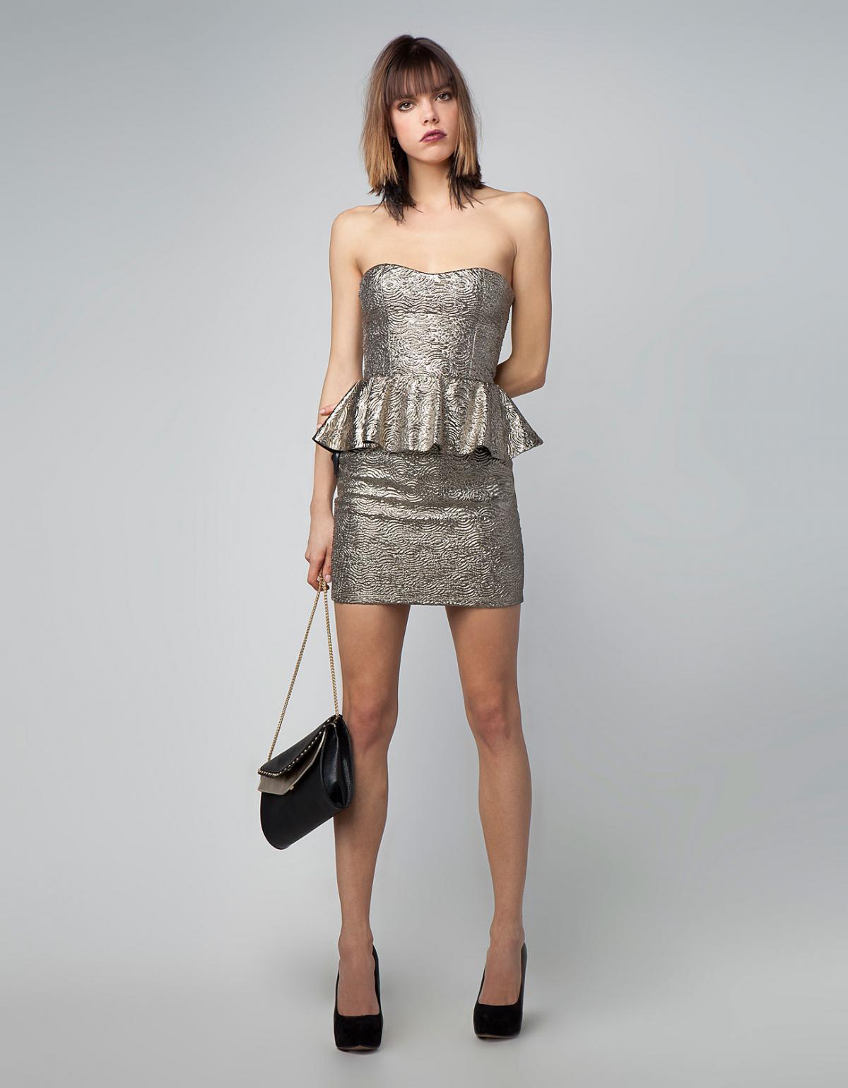 45e5139c43 Magia błyskotek - wieczorowe sukienki 2013. mini z baskinką sukienka Bershka  w kolorze srebrnym - sukienka na studniówkę