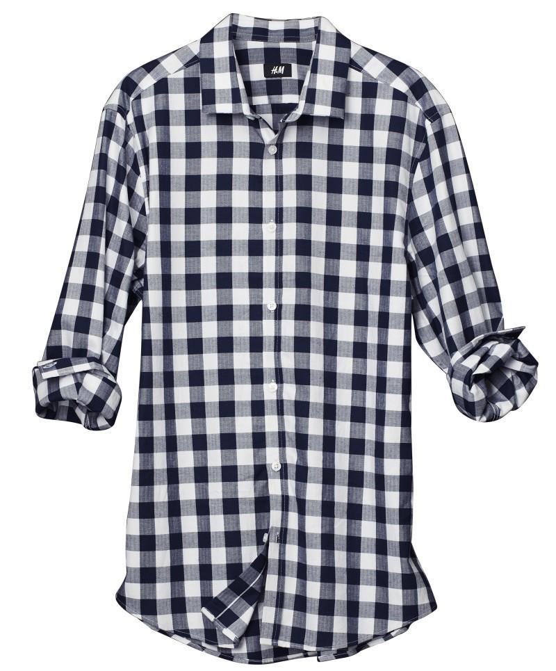 granatowa koszula H&M w kratkę - wiosna/lato 2011
