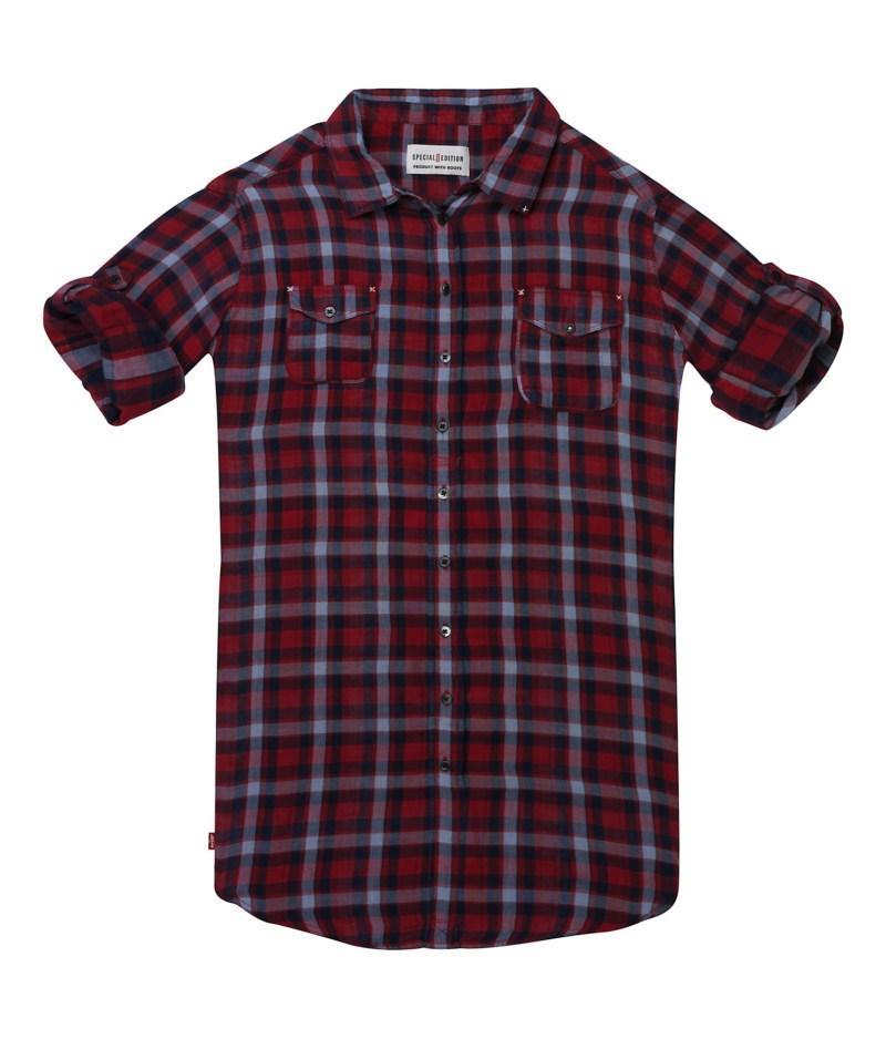 bordowa koszula Levis w kratkę - wiosenna kolekcja