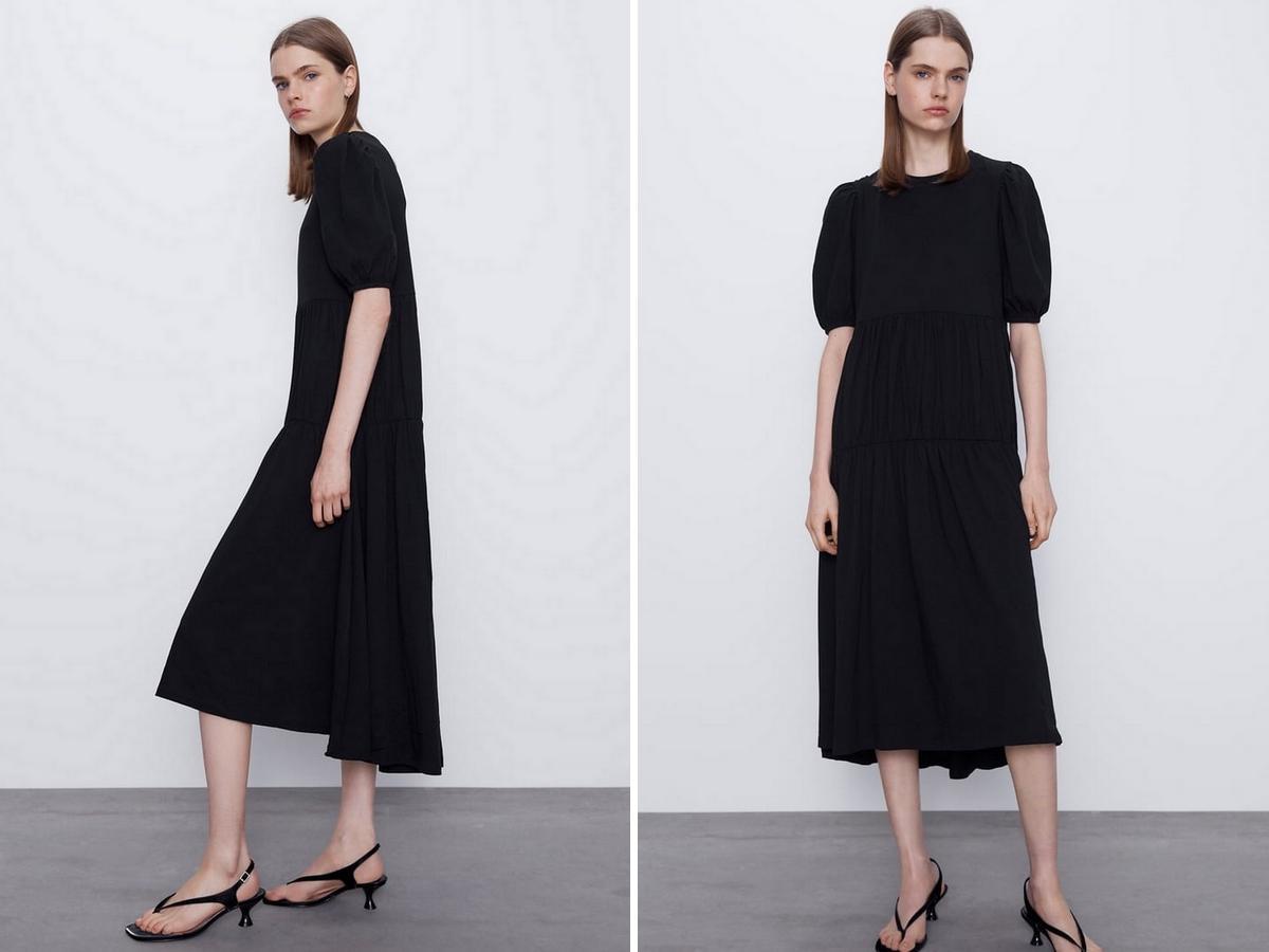 czarna midi sukienka z Zary