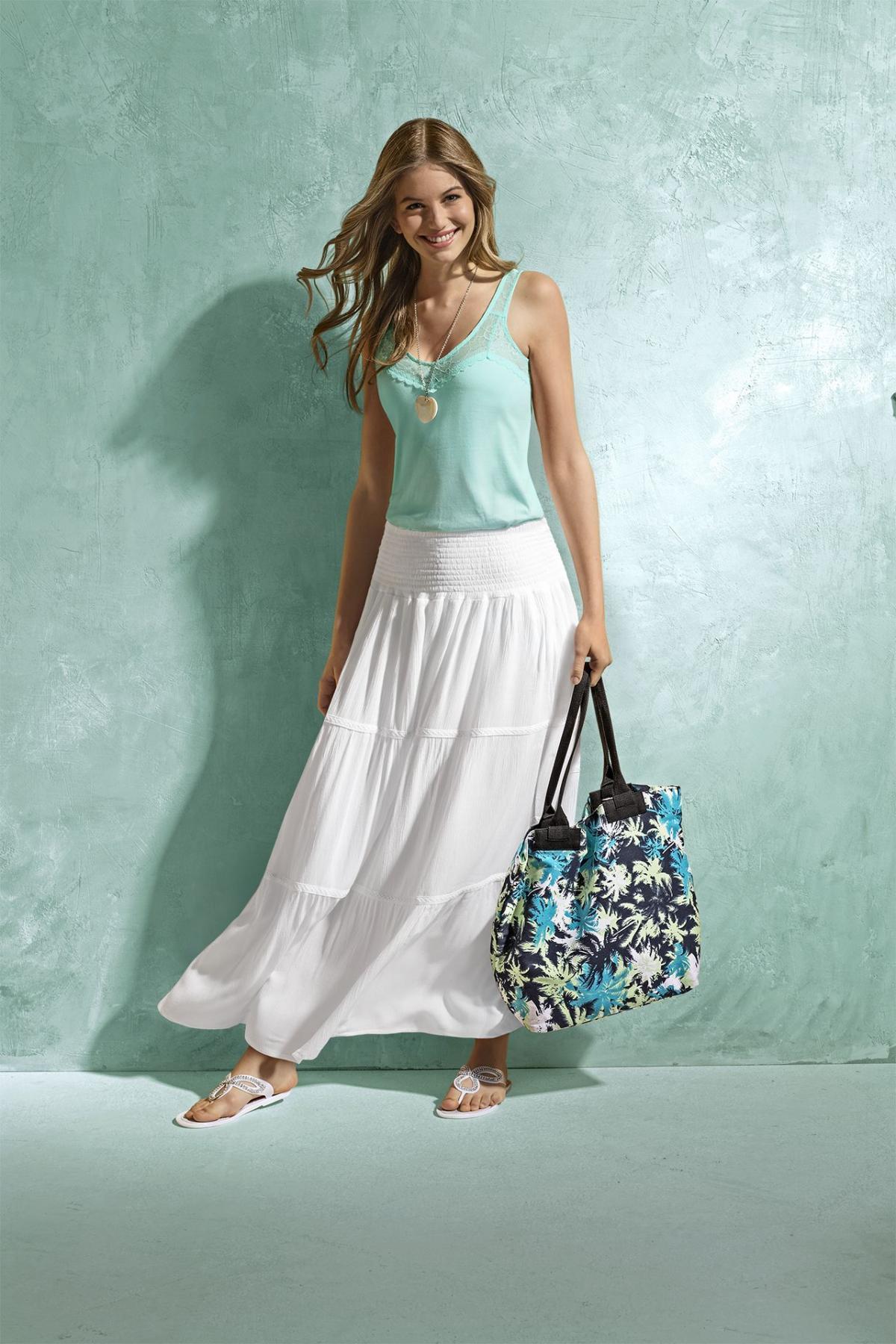 Zaawansowane biała spódnica KiK długa - Moda plażowa KiK - Trendy sezonu UC04