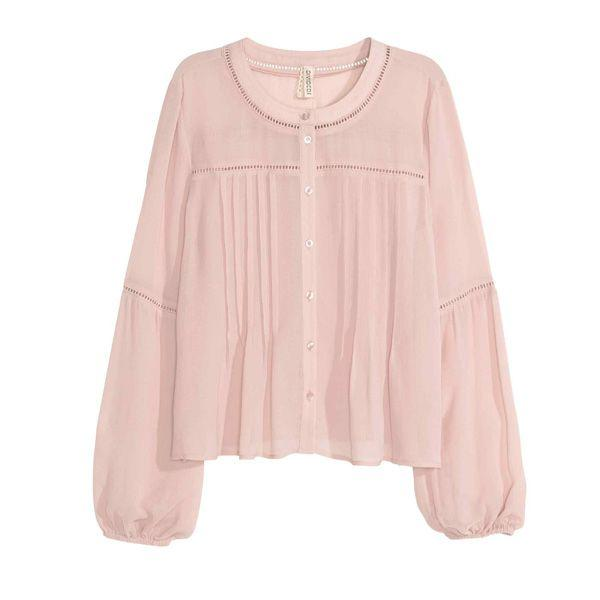 Pudrowo różowa bluzka H&M, cena
