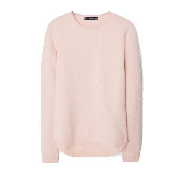 Pudrowo różowy sweter Mango, cena
