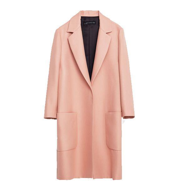 Pudrowo różowy płaszcz Zara, cena