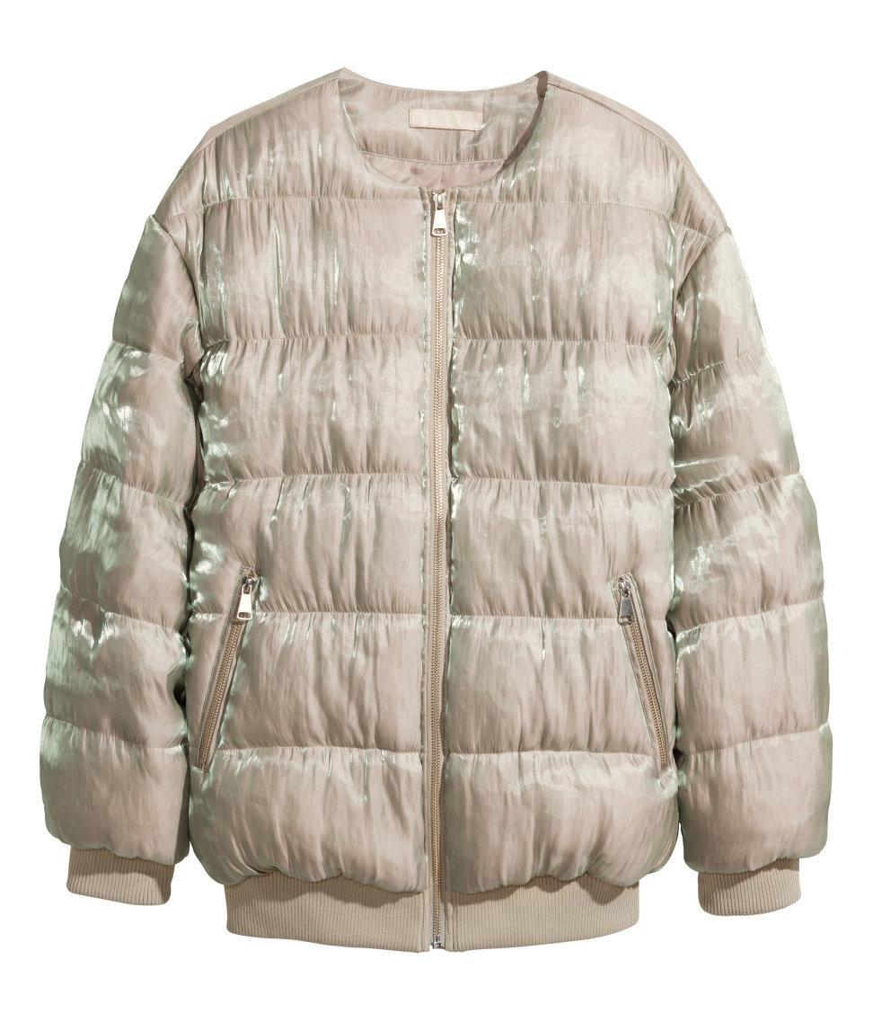 kurtka H&M bez kołnierza puchowa