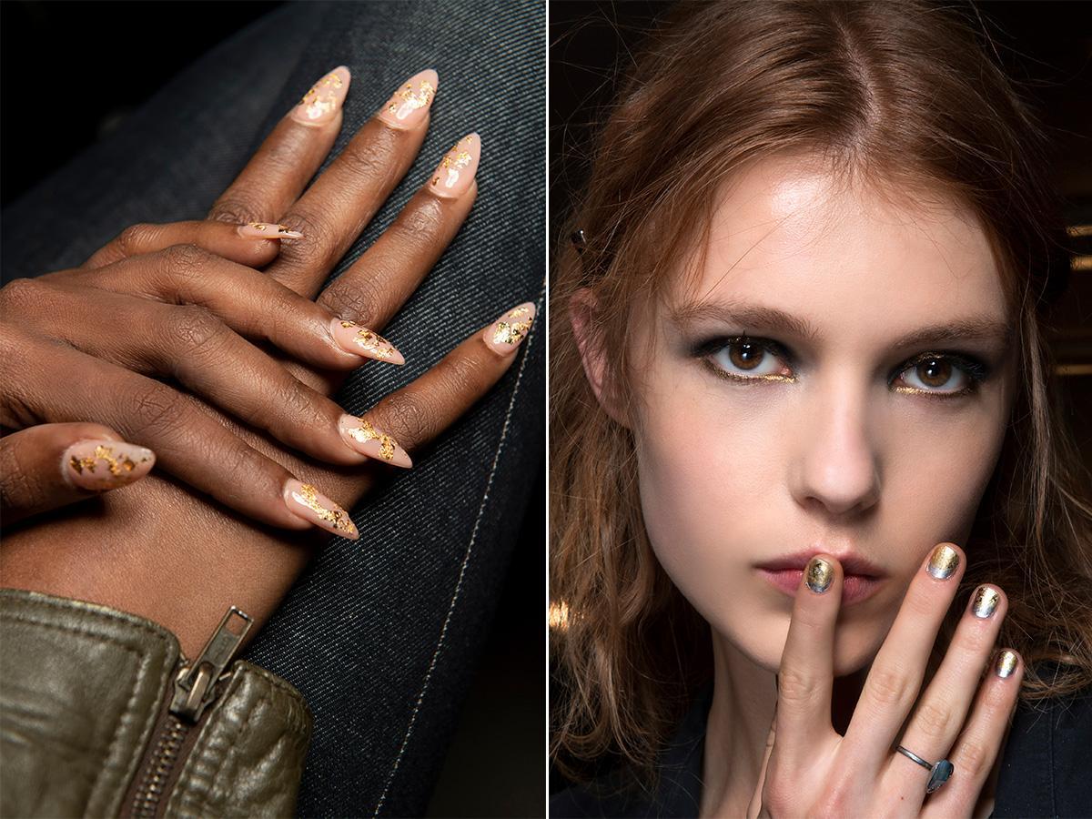 modny manicure złoto 2020/2021