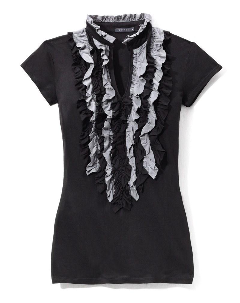 czarna bluzka Mohito z żabotem - jesień-zima 2010/2011
