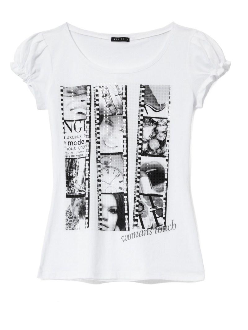 biały t-shirt Mohito z nadrukiem - jesień-zima 2010/2011