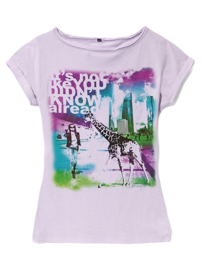 fioletowy t-shirt Mohito z nadrukiem - jesień-zima 2010/2011