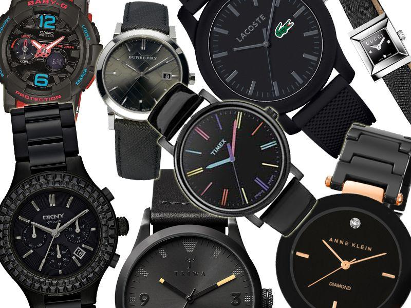 Modne czarne zegarki