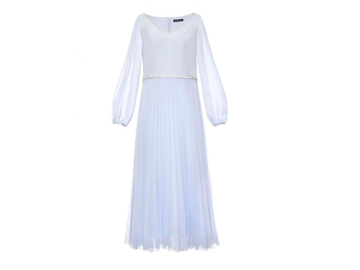 Błękitna sukienka z plisowanym dołem Hexeline