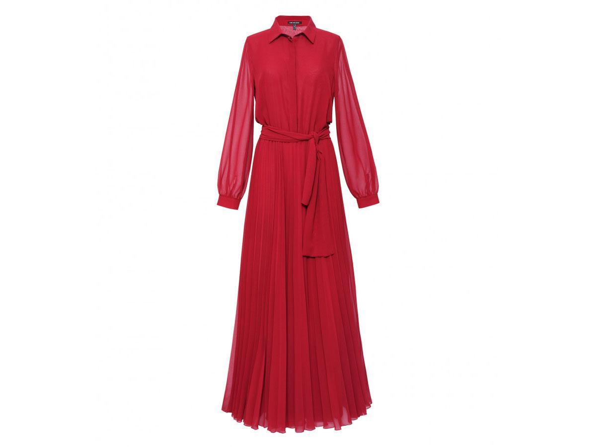 Czerwona sukienka plisowana Hexeline