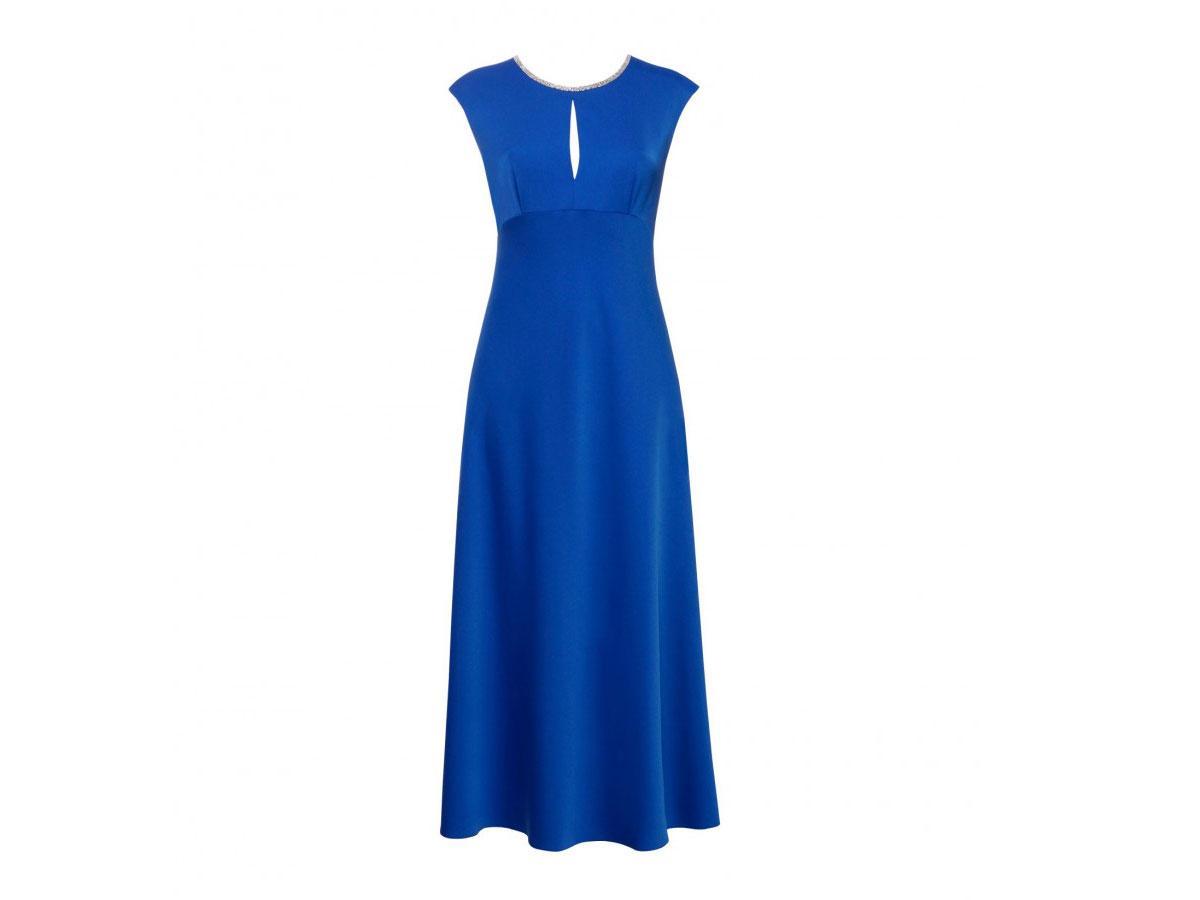 Długa chabrowa sukienka Hexeline