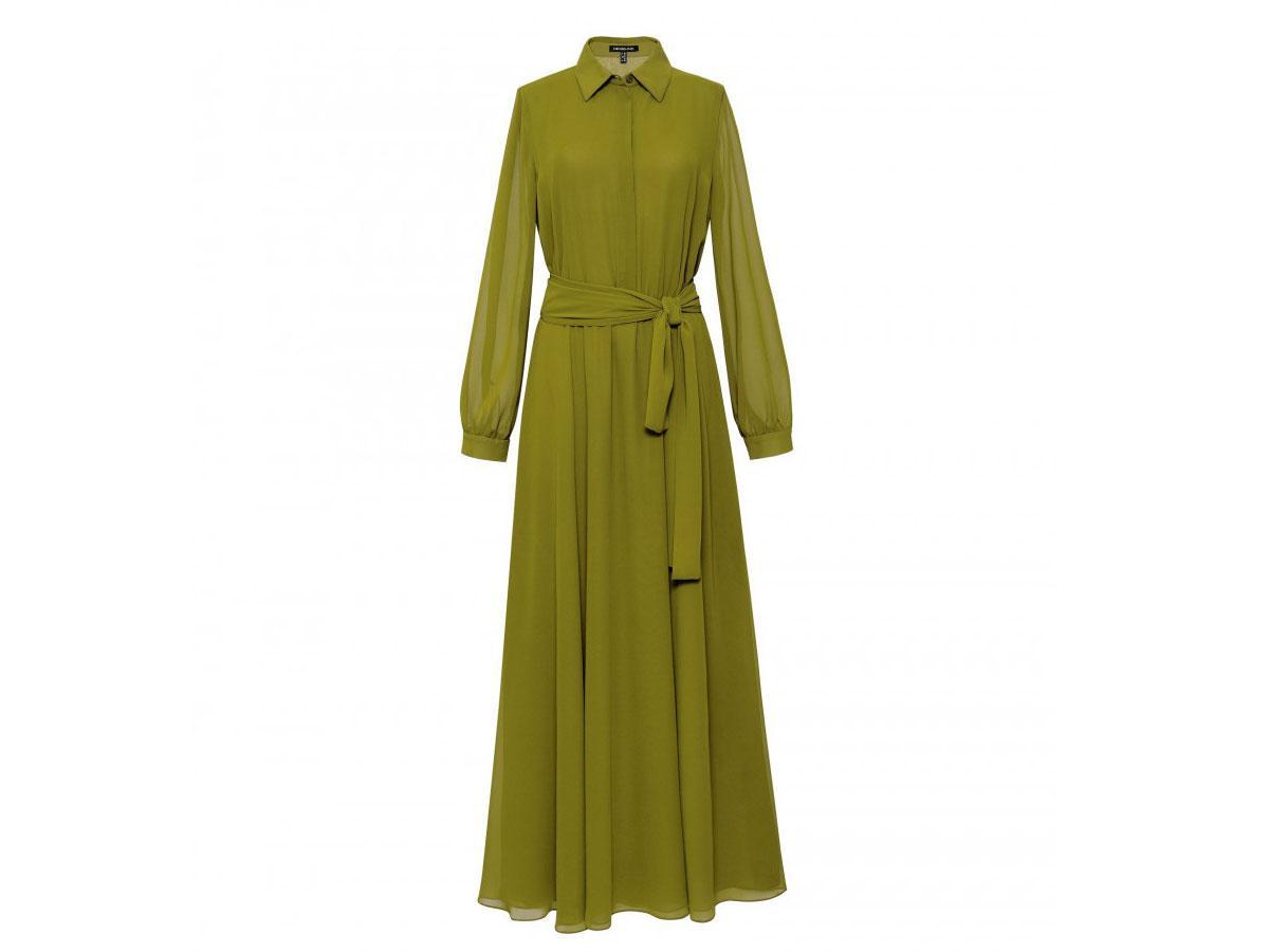 Długa limonkowa sukienka Hexeline