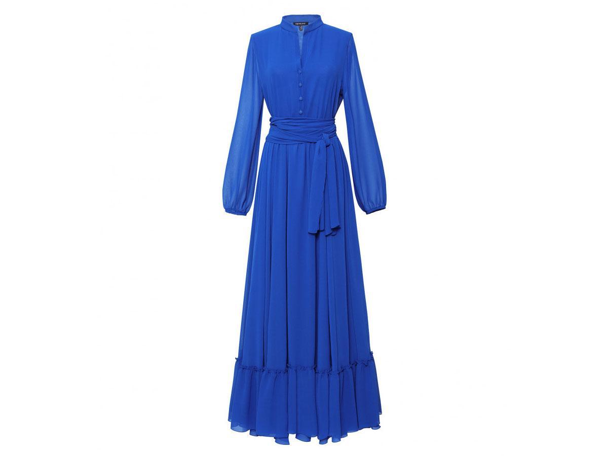 Chabrowa sukienka z falbaną Hexeline