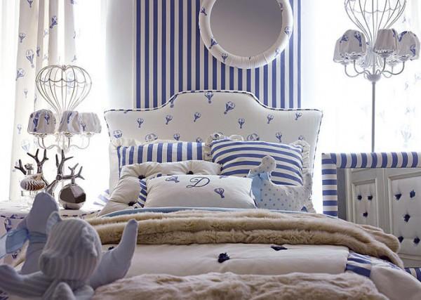 Niebieskie Wąskie Pasy Sypialnia Najciekawsze Aranżacje