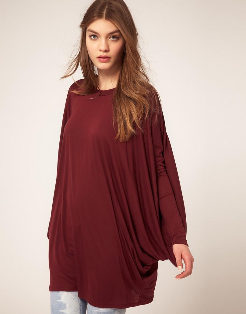 bordowa bluzka Asos obszerna - wiosna-lato 2012
