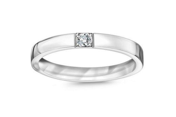 ac4d368347 Obrączka z białego złota z diamentem YES cena 1795 - Obrączki ślubne ...