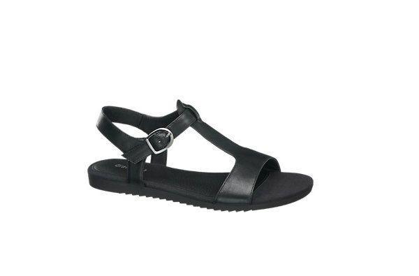 Czarne, klasyczne sandały, Deichmann, cena: 79 zł