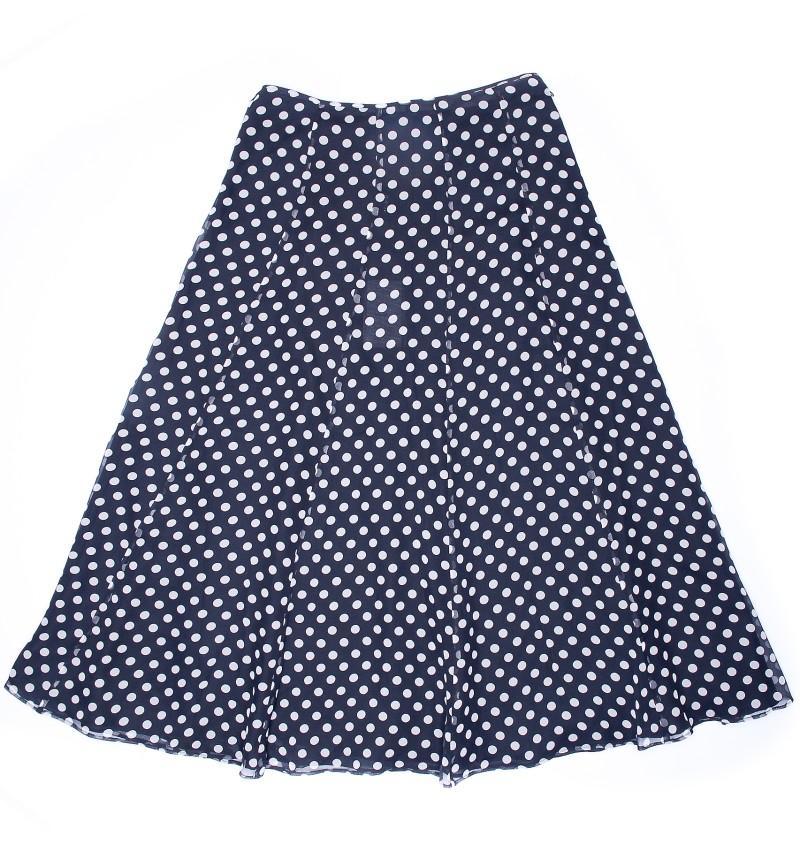 granatowa spódnica Aryton w groszki rozkloszowana - moda wiosna/lato
