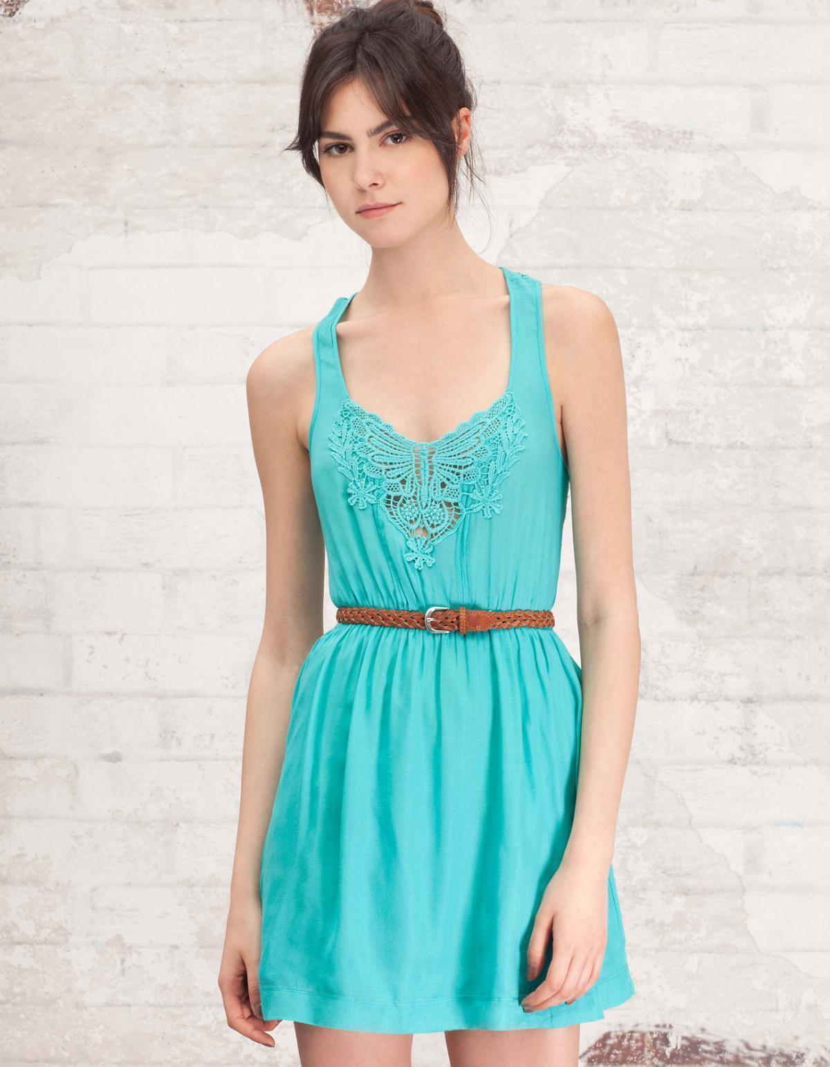 turkusowa sukienka Stradivarius - lato 2012