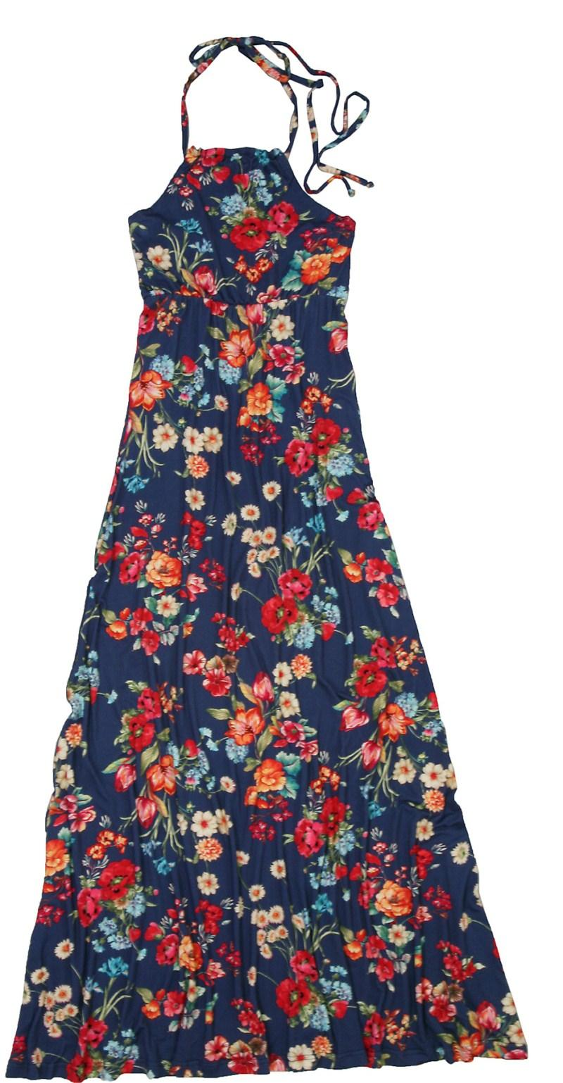 granatowa sukienka Bialcon w kwiaty długa - moda wiosna/lato