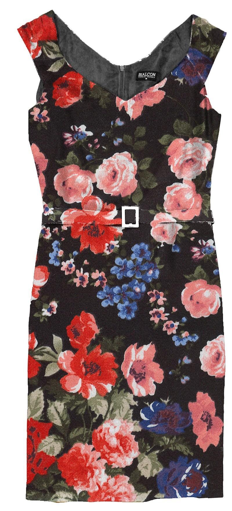 czarna sukienka Bialcon w kwiaty - moda wiosna/lato