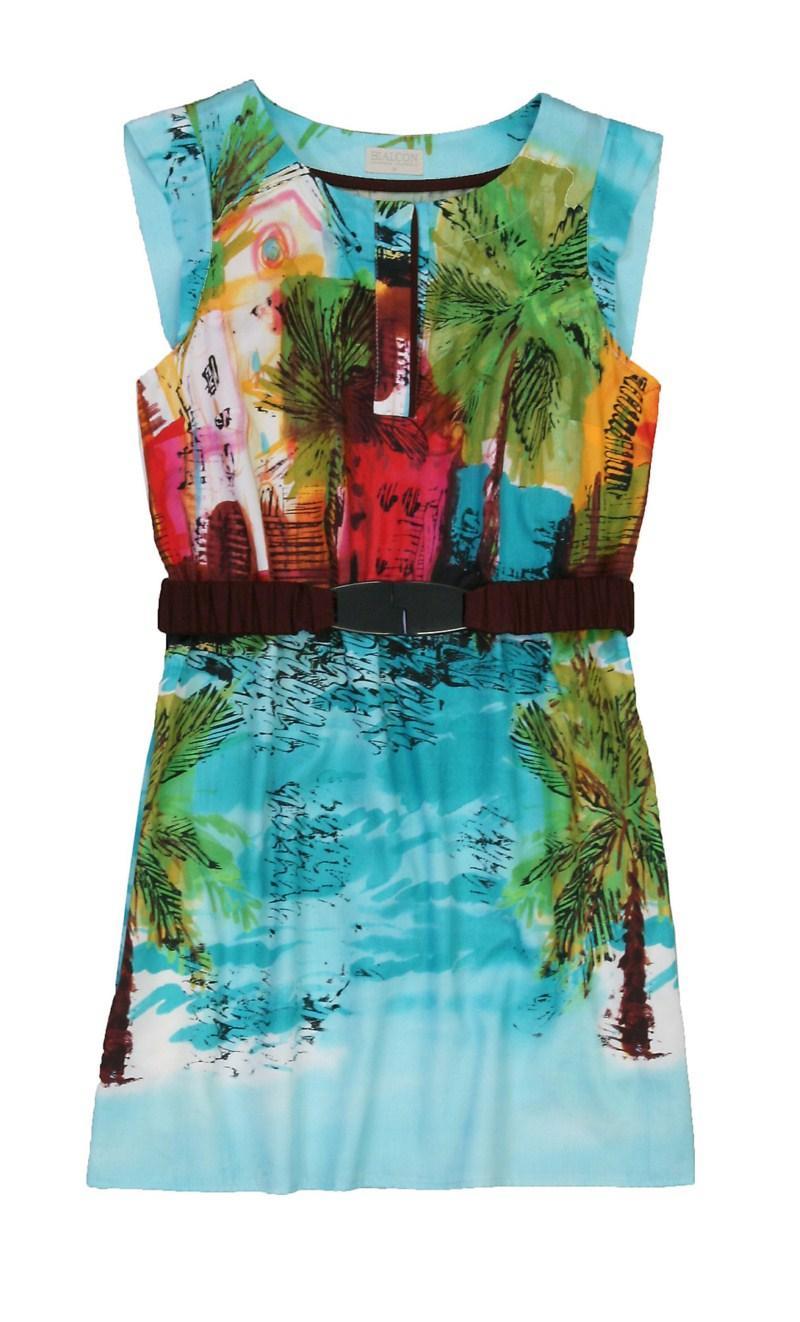 turkusowa sukienka Bialcon z nadrukiem - moda wiosna/lato