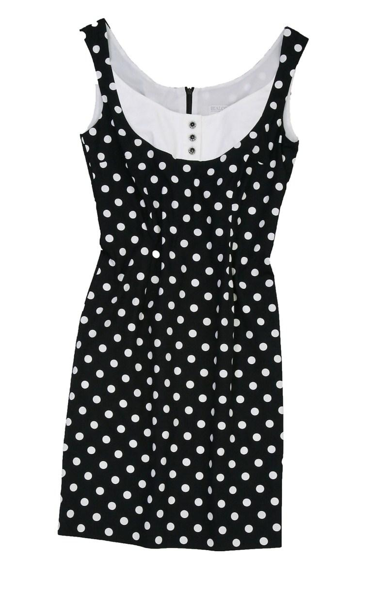 czarna sukienka Bialcon w groszki - trendy wiosna-lato