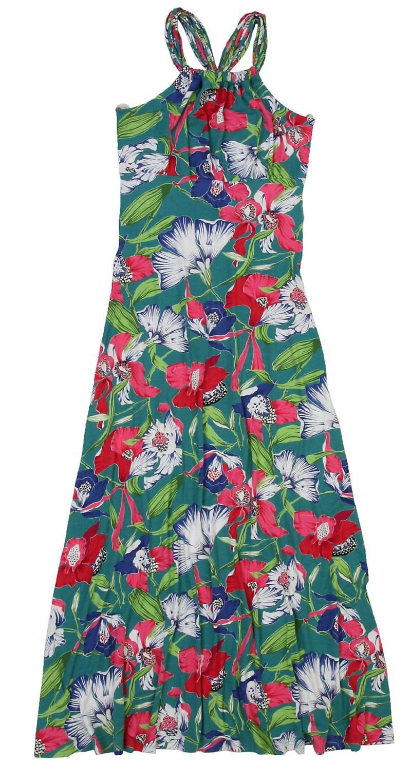 zielona sukienka Bialcon w kwiaty długa - z kolekcji wiosna-lato 2011