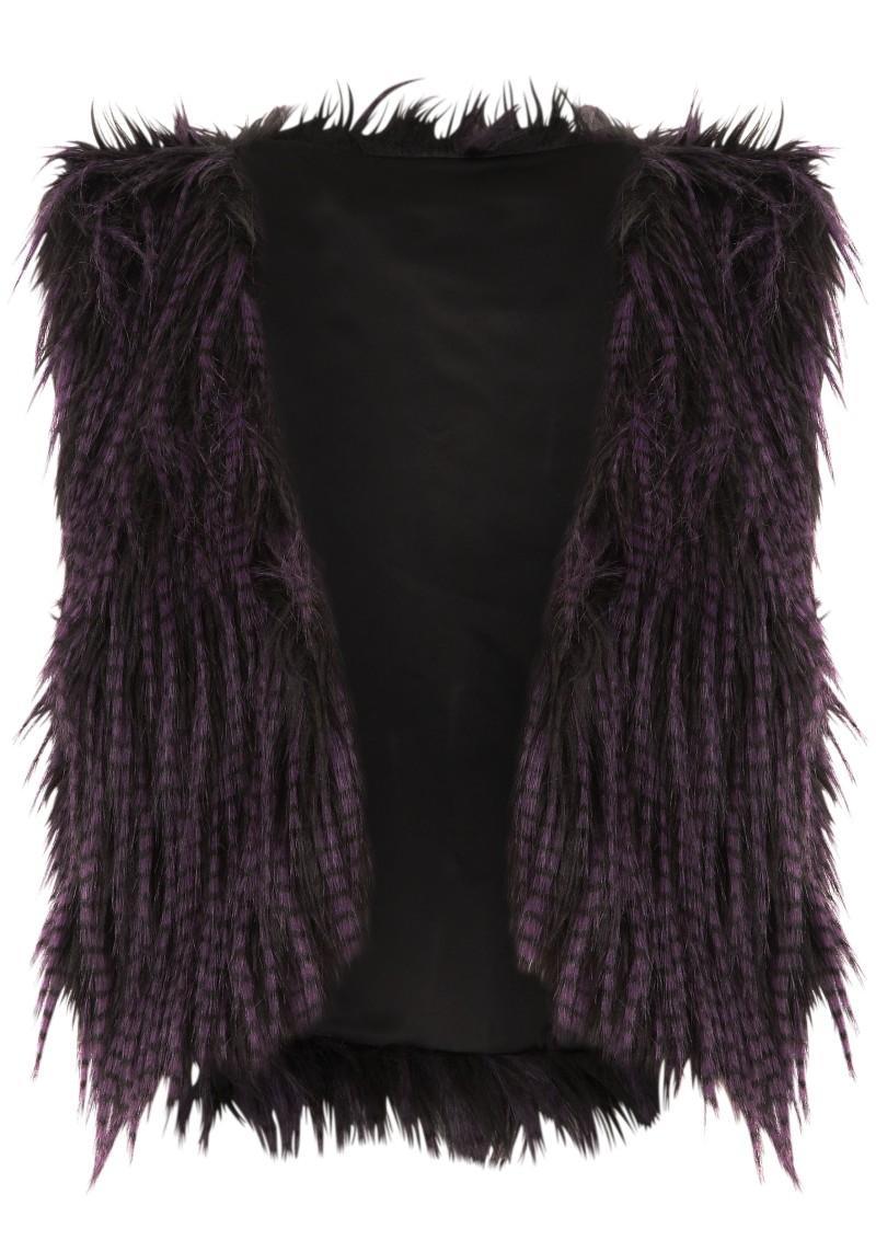 fioletowa kamizelka Next z futerkiem - moda zimowa