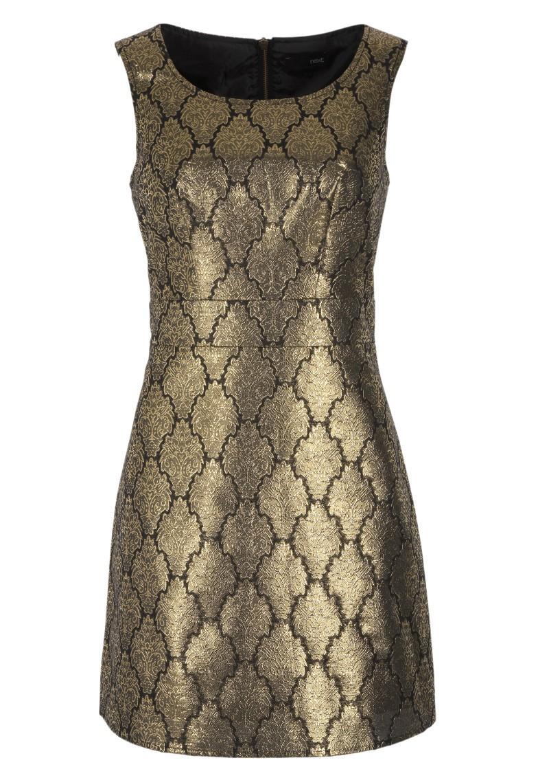 złota sukienka Next - moda zimowa