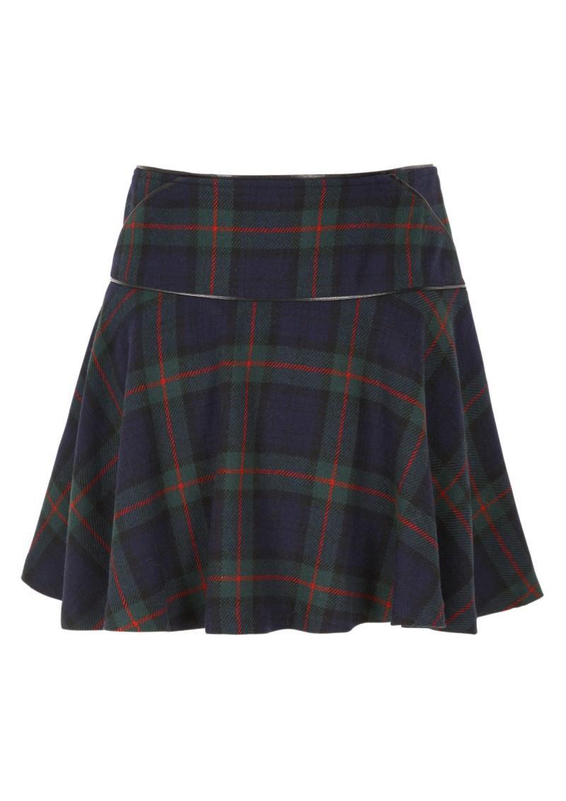 granatowa spódnica Next w kratkę - moda zimowa