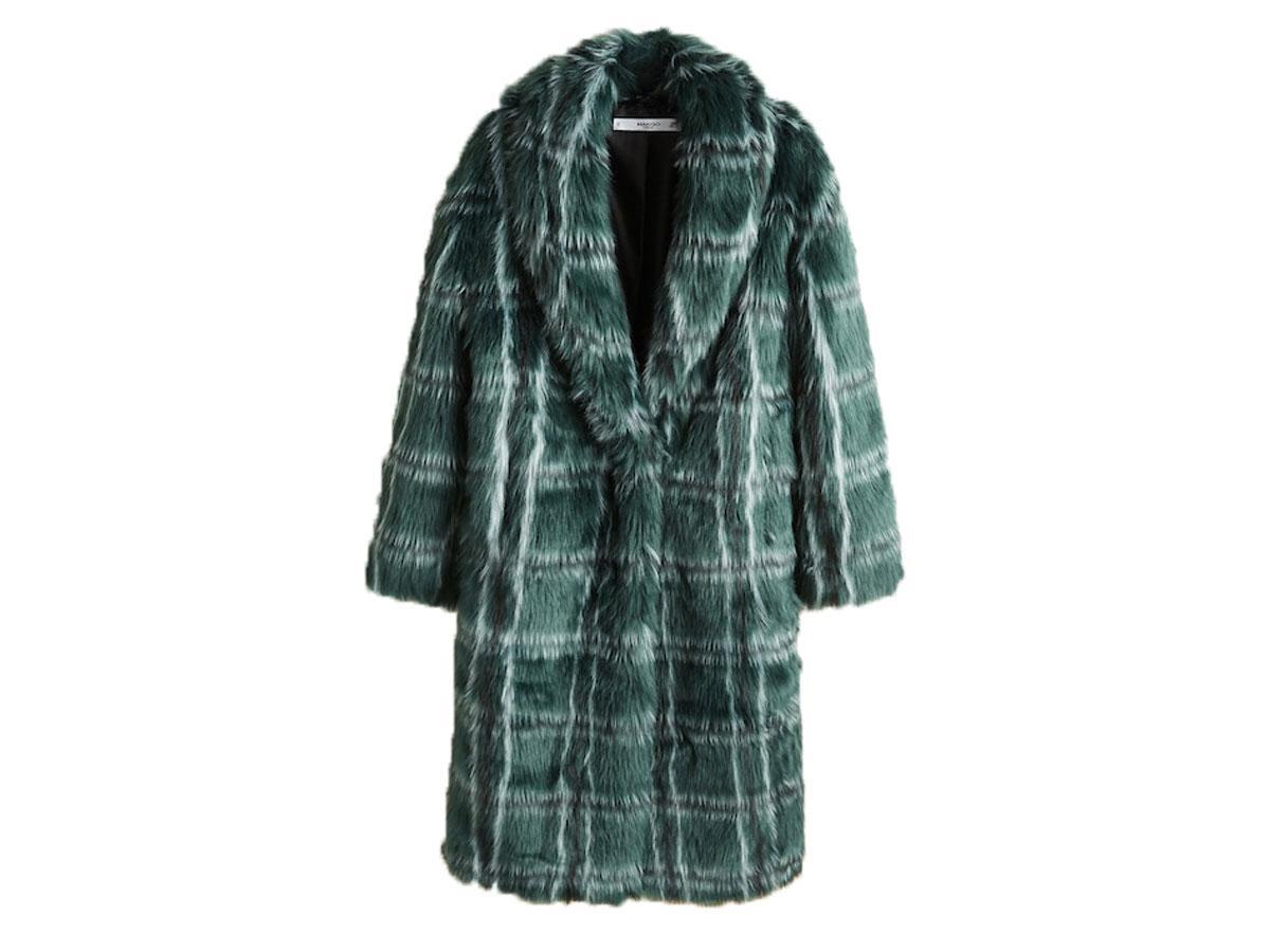 Płaszcz futrzany w kratę, Mango, cena ok. 449,90 zł