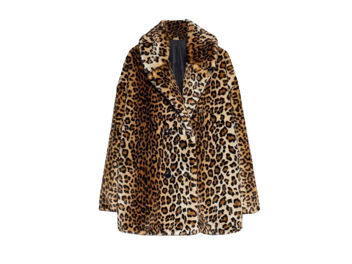 Płaszcz z futerkiem w panterkę, Stradivarius, cena ok. 299,00 zł
