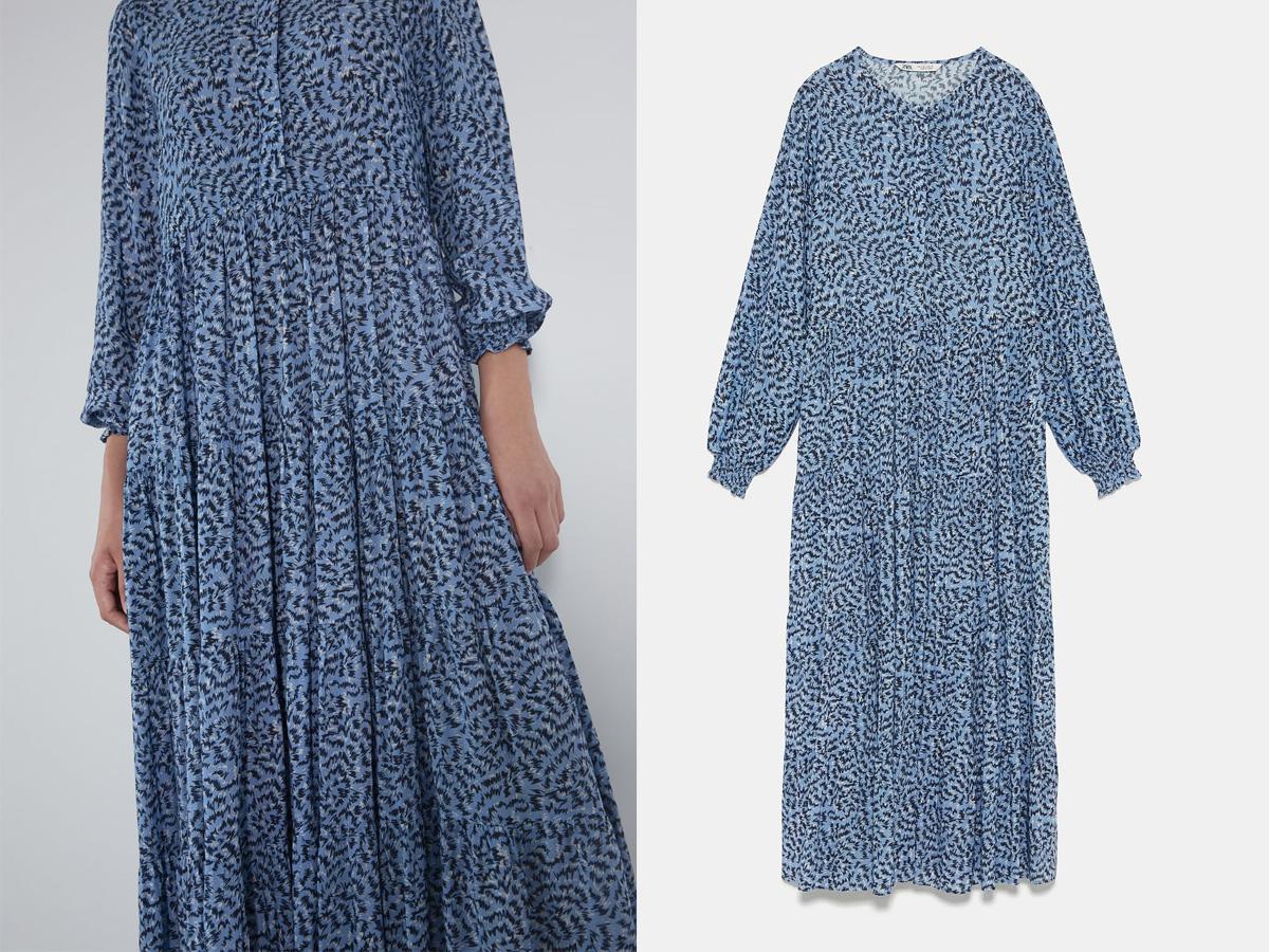 Niebieska sukienka we wzorki Zara