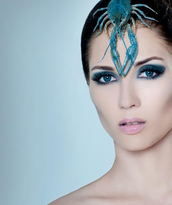 makijaż, kobieta, powieki, twarz