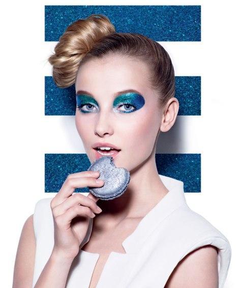 makijaż, kobieta, niebieski