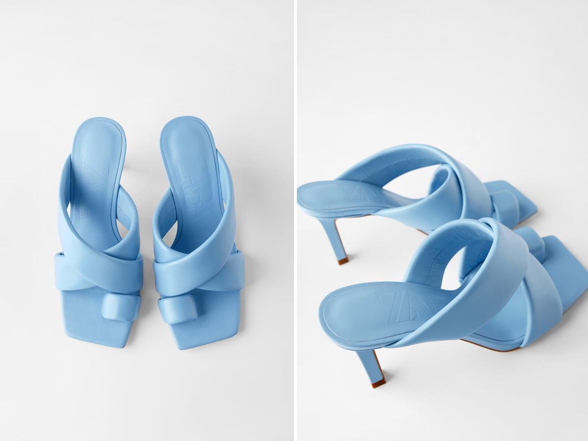 niebieskie klapki Zara