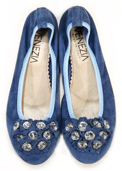 niebieskie baleriny Venezia z kryształkami - trendy wiosna-lato