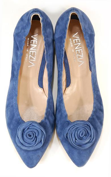 niebieskie baleriny Venezia z kwiatem - kolekcja wiosenno/letnia