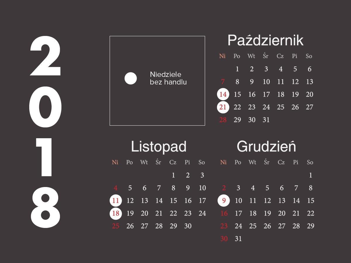 Kalendarz niedziel z handlem i bez handlu 2018