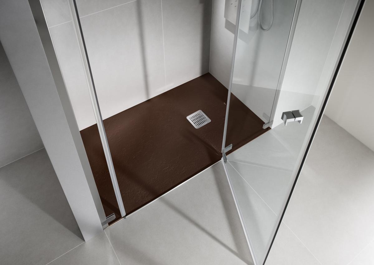 Wyjątkowa Prysznic Bez Brodzika W Kolorze Brązu Aranżacja łazienki