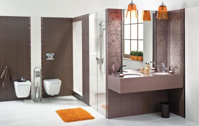Unikalna łazienka W Kolorze Brązu I śliwki Inspirowana Marką