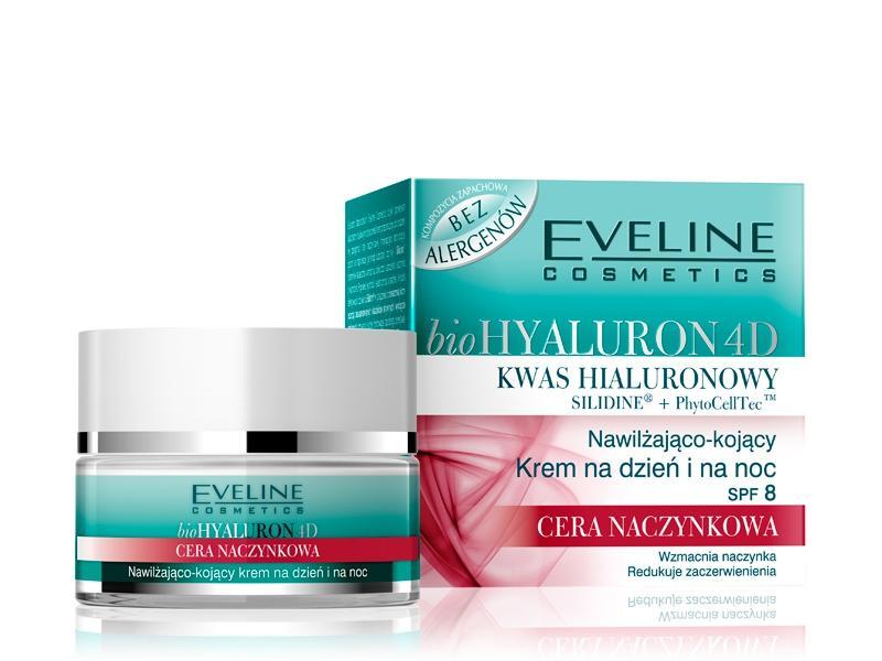kosmetyczne nowości listopad 2012, nowe kosmetyki, listopad 2012, Nawilżająco-kojący krem na dzień i na noc SPF 8 z serii bioHYALURON 4D Eveline do cery naczynkowej