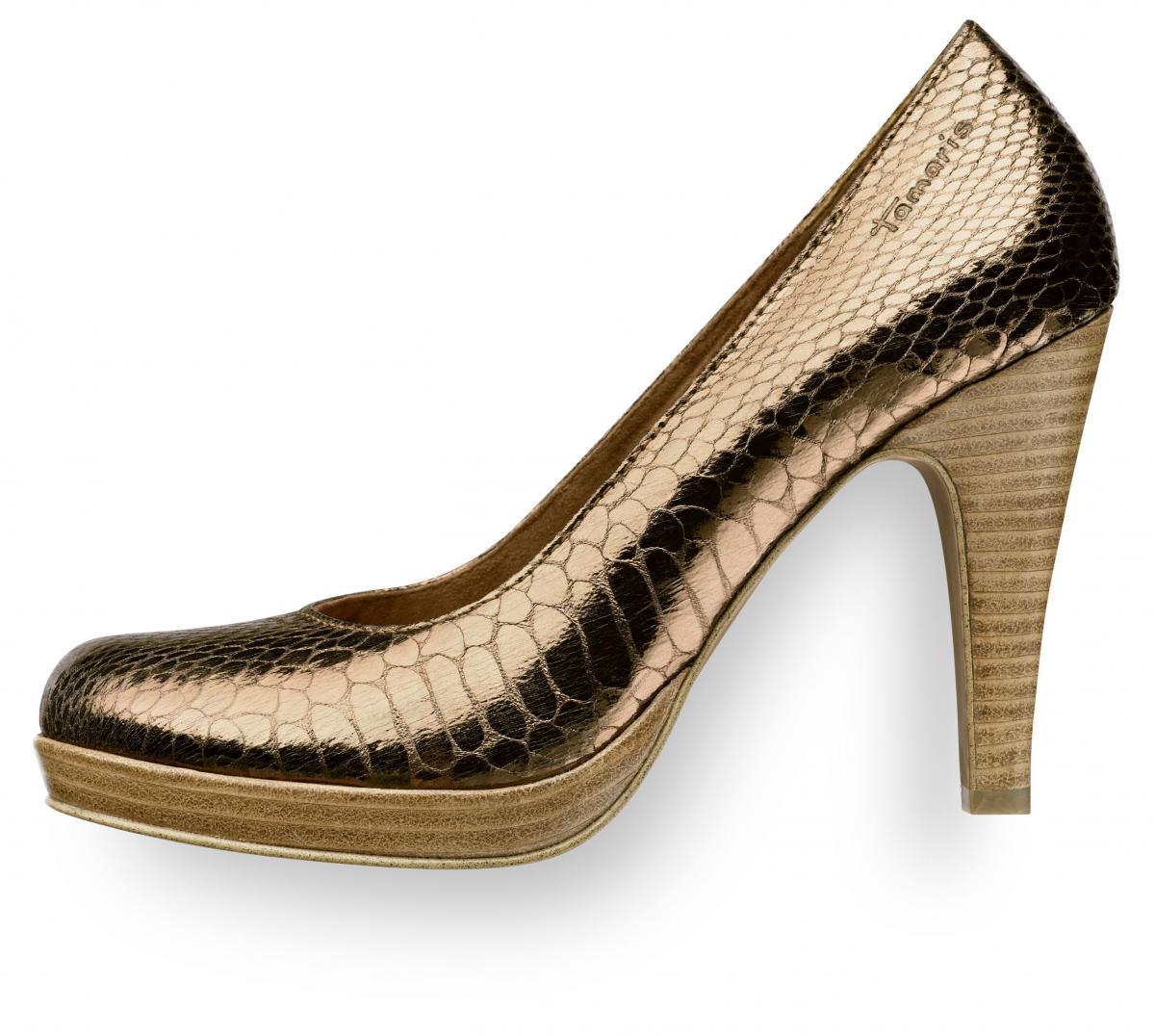 złote pantofle Tamaris na wysokim obcasie - wiosna 2011