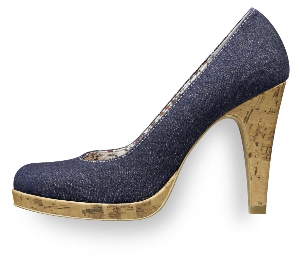 granatowe pantofle Tamaris na wysokim obcasie - wiosenna kolekcja