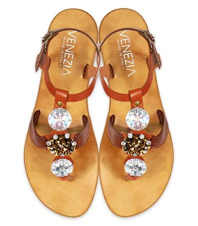 brązowe sandały Venezia ze zdobieniami - wiosna/lato 2011