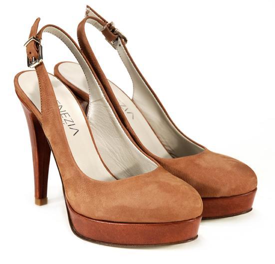 brązowe pantofle Venezia na platformie - kolekcja wiosenno/letnia