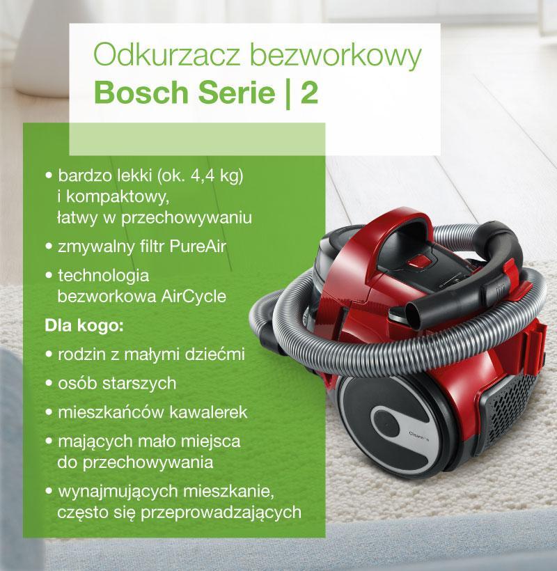 Odkurzacz bezworkowy Bosch Serie 2 - infografika
